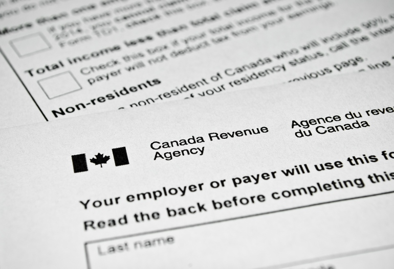 Canadian tax form.