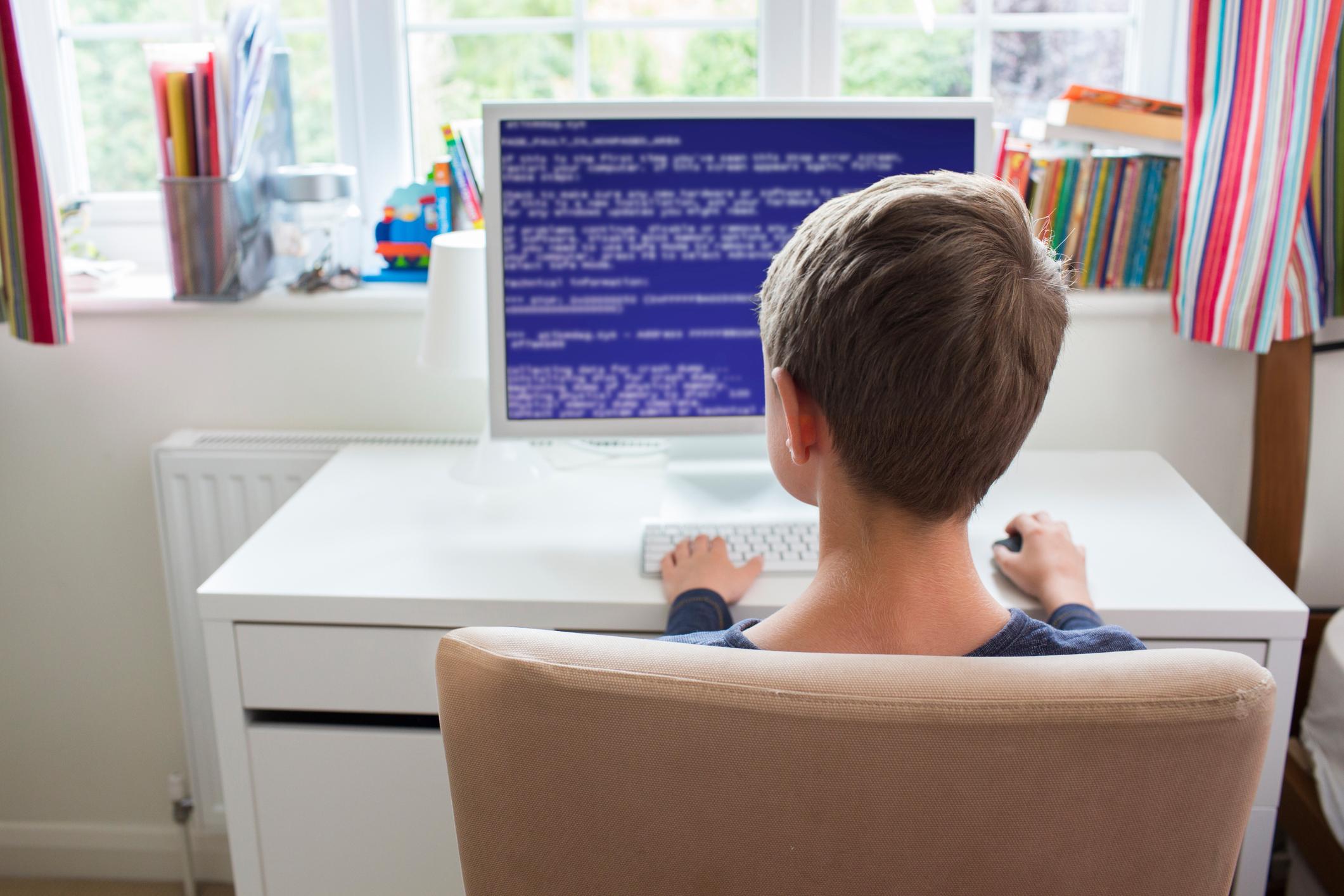 Teenage boy on computer